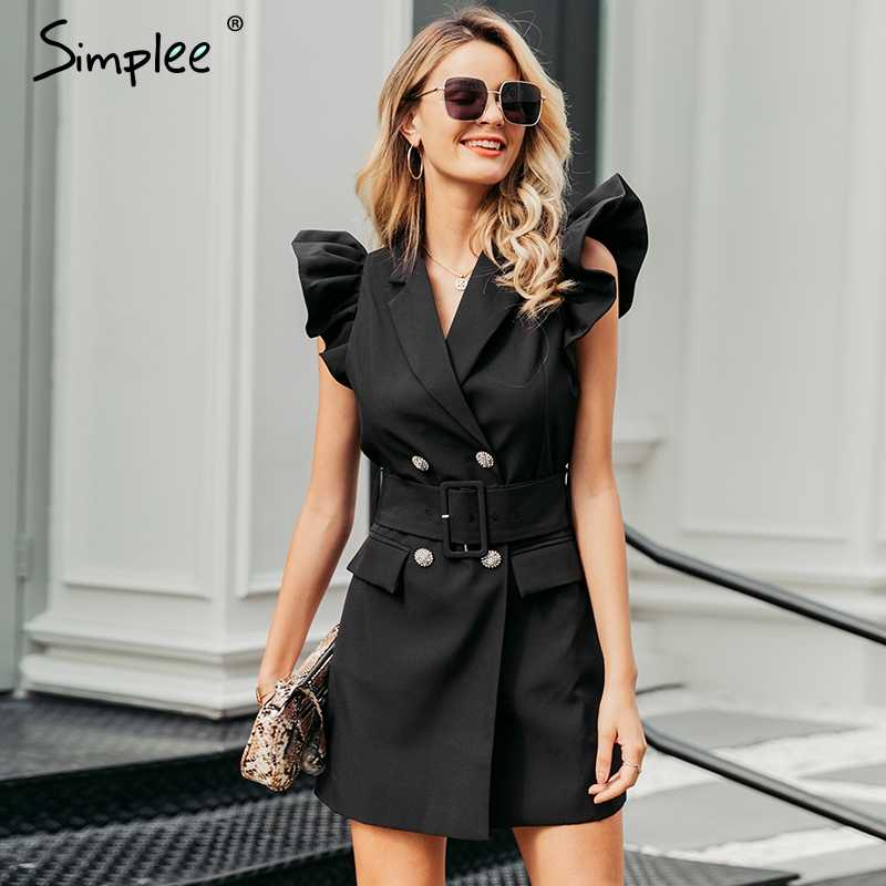 Simplee Autumn women office blazer dress Ruffle sleeve slim belted double breasted dress Black ladies party bodycon dress suits