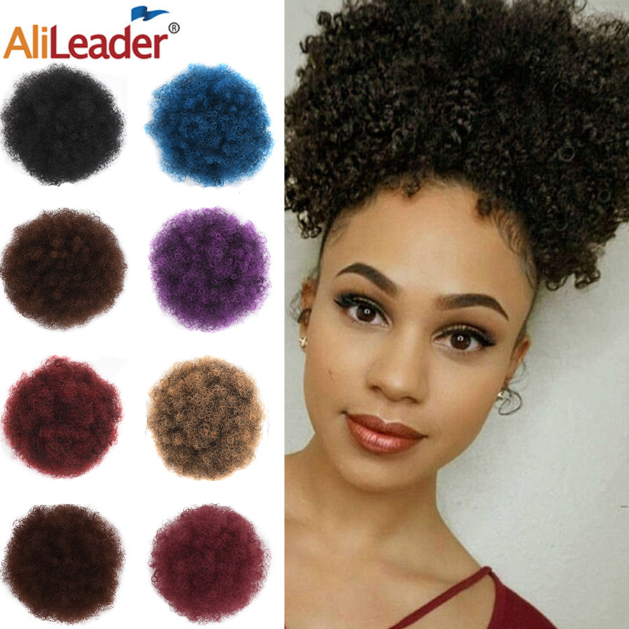 Alileader African Afro Bun Short Kinky Curly Wrap Drawstring Puff Ponytail Bun Extension Synthetic Hair Large Round Ponytail 1pc