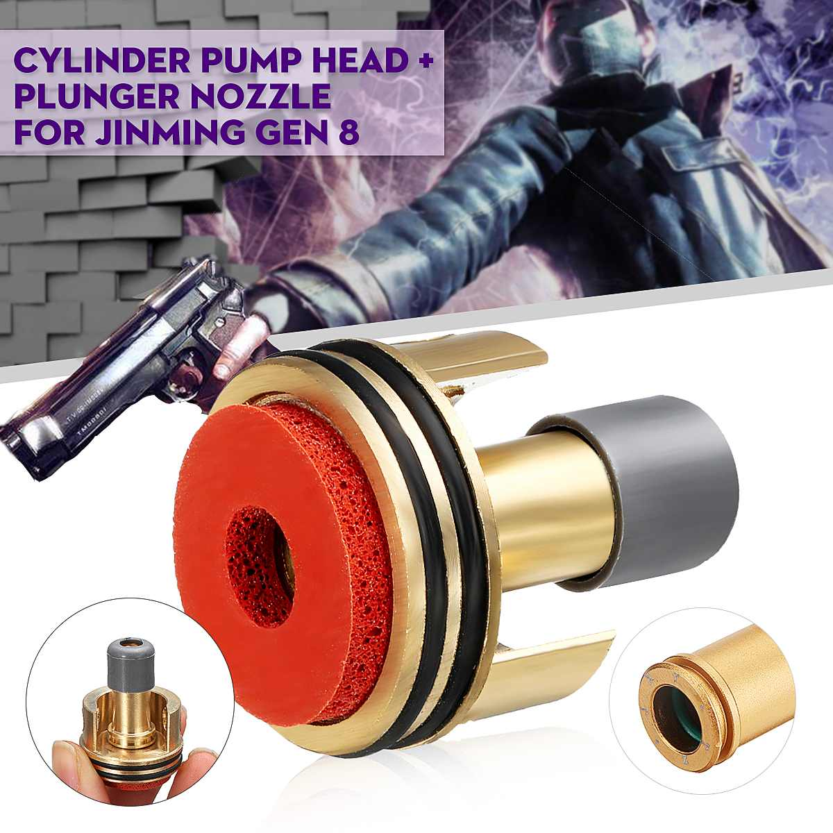 Upgrade Double Cylinder Pump Head With Plunger Nozzle For Jinming Gen 8th M4A1 Guns