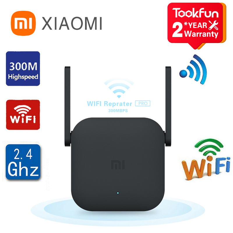 Global Version Xiaomi WiFi Router Amplifier Pro 300M Network Expander Repeater Signal Overlay Wireless Range 2 External Antennas