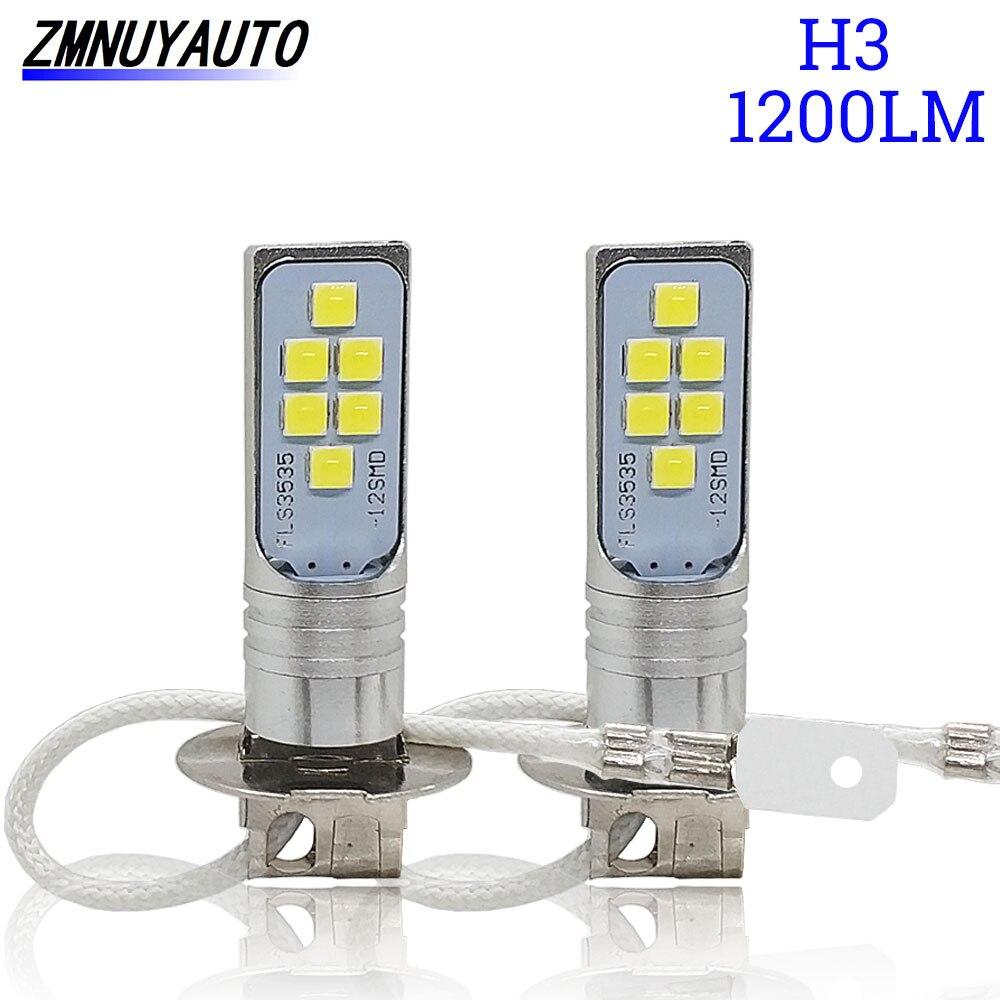 Светодиодные лампы для автомобильных противотуманных фар, 2 шт., 12 SMD 3535, супер яркие светодиодные лампы для автомобильных фар, 12 В, 24 В