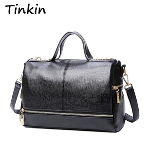 Image 1 - Tinkin Bolso retro nueva llegada Bolso mensajero motorista Bolso laptop cuero remaches Bolso de hombro mujer