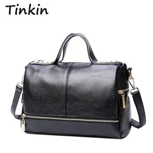 Image 1 - Tinkin New Arrival Femal torebka Retro torba motocyklowa kurierska nit skórzana duża torba z rączką na laptopa damska torba na ramię