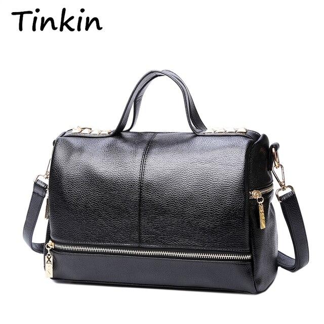 Tinkin New Arrival Femal torebka Retro torba motocyklowa kurierska nit skórzana duża torba z rączką na laptopa damska torba na ramię