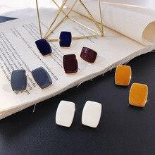 цены на TEH Korean Trendy Morandi Color Stud Earrings For Women Jewelry Simple Drop Oil Enamel Geometric Earrings Girl Party Gift  в интернет-магазинах