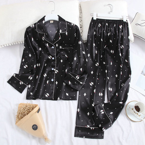 Image 5 - Conjunto de pijama de solapa de Satén de seda de hielo para mujer, Pijama estampado de moda, Conjunto de pijama de manga larga