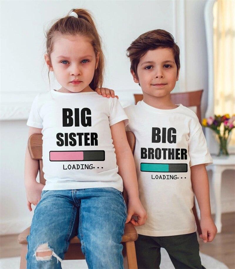 Футболка с надписью «Big Brother/Sister Loading» Для малышей и детей, мягкие топы, футболки, наряды, одежда, Прямая поставка, одежда для малышей