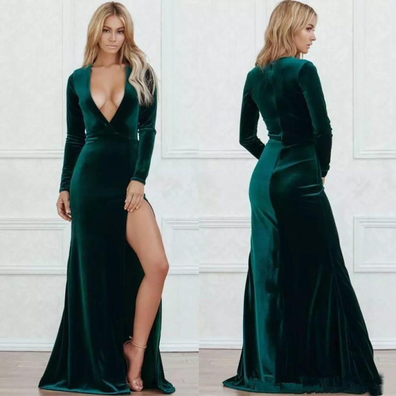 Velvet Dark Green Sexy Deep V Neck Side Split Prom Dresses Long Sleeves Floor Length Formal Dress Evening Wear Vestido Festa