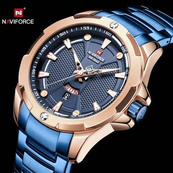 NAVIFORCE Simple Quartz Watch Men Casual Business Mens Watches Top Brand Luxury Waterproof Male Clock Golden Full  Steel Strap