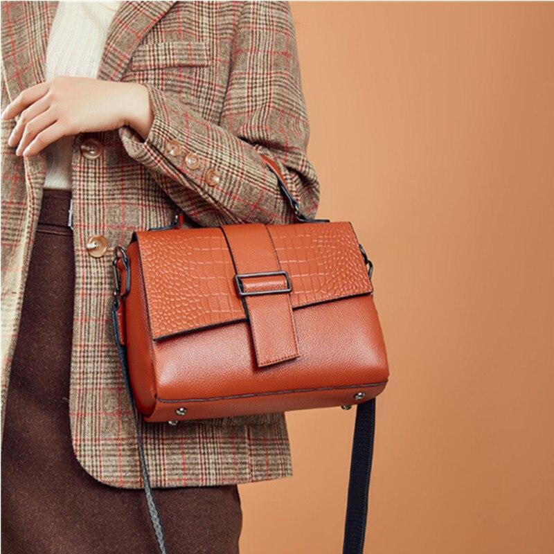 Женская сумка через плечо из натуральной кожи, Модные Популярные Квадратные сумочки из высококачественной ткани в ретро стиле