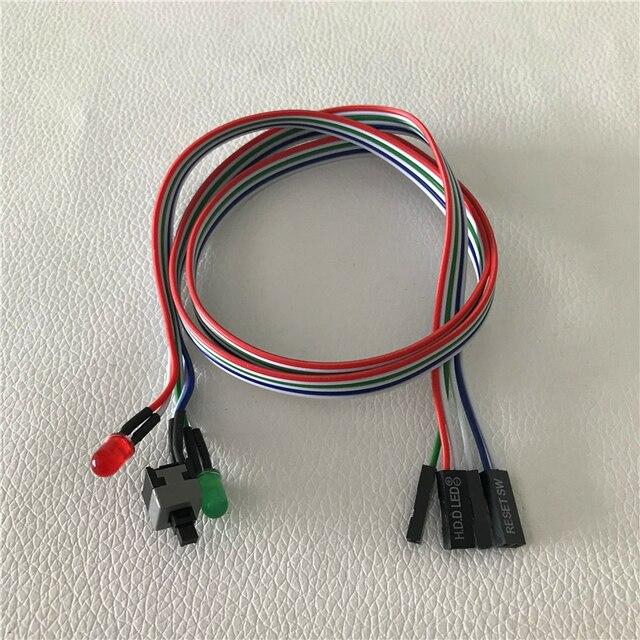 100 יח\חבילה מחשב שולחני מארז מחשב מתג איפוס כפתור קשיח דיסק מצב LED כוח LED כבל 65cm
