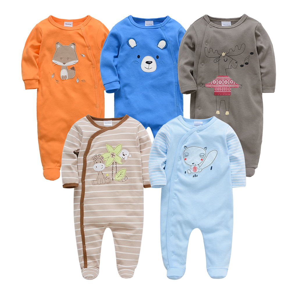 Kavkas Roupa De Bebes Infantil Menina Full Sleeve Newborn Baby Boy Rompers Set 2pc 3pc 5pcs Clothing Set