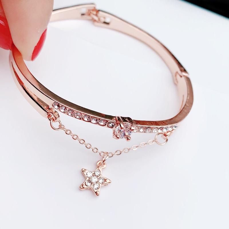 CUTEECO-2019-New-Rose-Gold-Luxury-Female-Bangle-Bracelet-Pentagram-Forever-Love-Zircon-Bracelets-Charm-For (2)