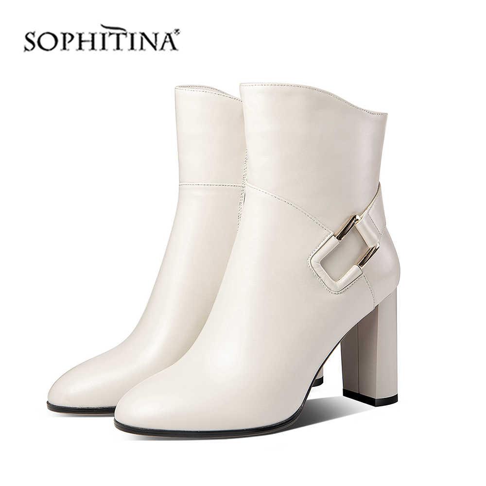 SOPHITINA נשים מגפי חורף בעבודת יד חם כיכר העקב נעליים מזדמנים אמיתי עור מחודד הבוהן סופר גבוהה העקב גברת מגפי MO353