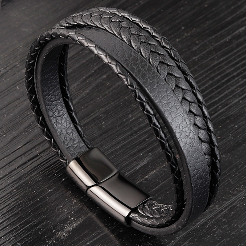 Charming Jewelry Different Designs Geometric Pattern Multi-layers Genuine Leather Bracelet For Men Fashion Jewelry Gift