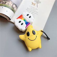 3D Case for AirPods Cartoon Earphone Airpods 2 Cute Accessories Silicone Cover with Keychain Design Rainbow Cloud