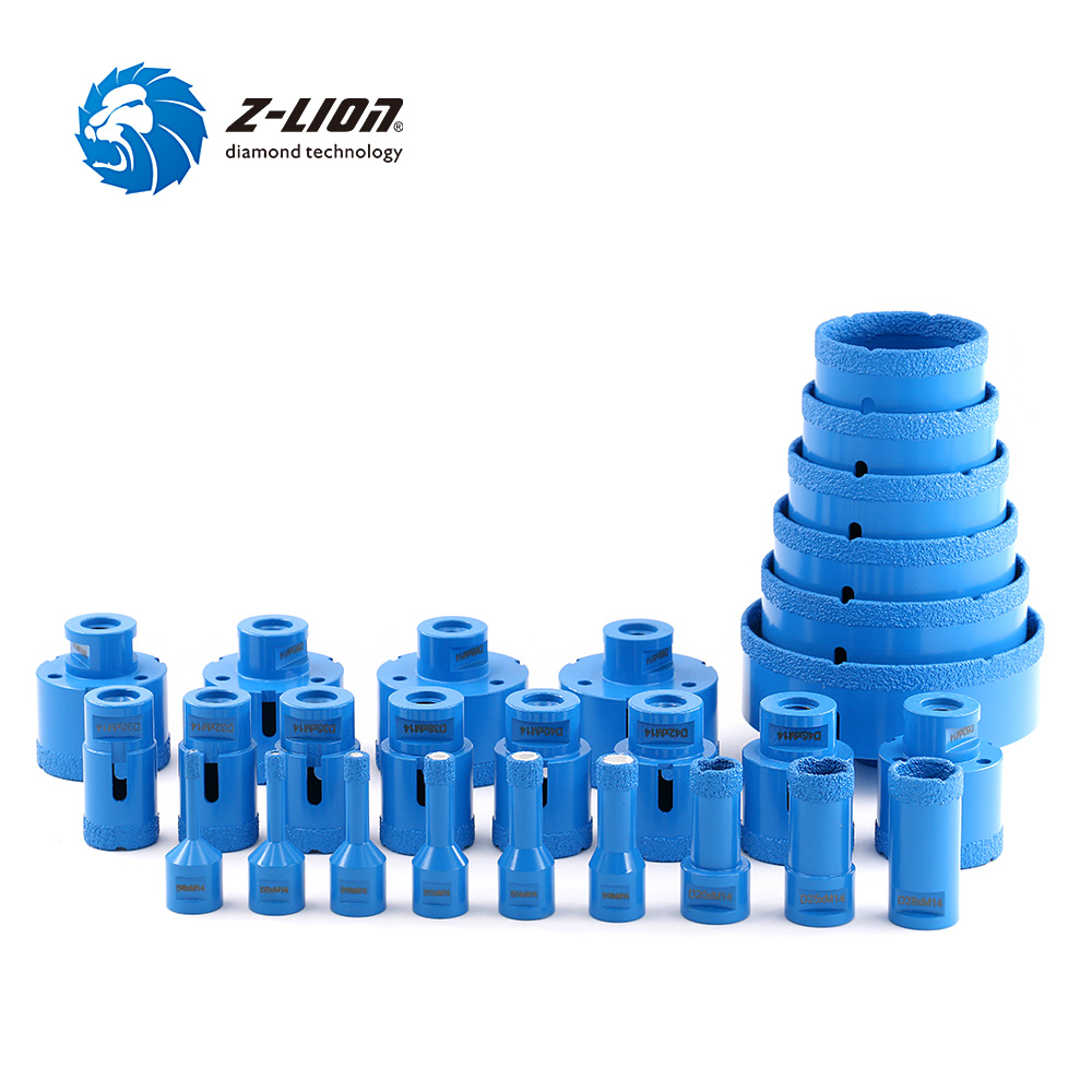 Z-LION Vacuum Brazed Diamond Drilling Core Bit With M14 Thread Granite Marble Ceramic Hole Saw Dry Wet Use For Angle Grinder 1PC