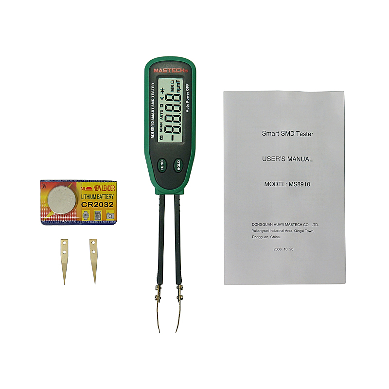 Handheld capacitive patch resistance tester <font><b>MS8910</b></font> digital SMD passive component diode tester tweezer clamping measurement image
