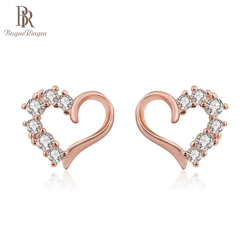 Bague Ringen Heart-shaped Silver 925 Earrings for Women Trendy Fine Jewelry Female Accessory Sweet Gifts Rose Gold Color Dating