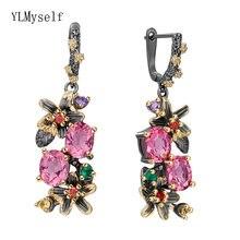 Симпатичные Новые висячие серьги с красными и розовыми кристаллами