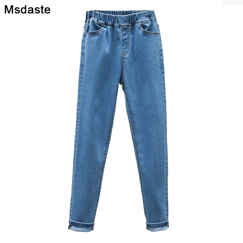 Jeans Woman Elastic Waist 2019 Autumn Winter Casual Female High Waist Denim Pencil Pants Blue Black Plus Size S~5XL Women Jeans