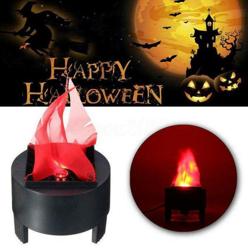 Christmas Halloween Decoration 85-260V 3W Prop Fake Flame LED Lamp Torch Night Light Fire Pot Festival Event Party Home Decor