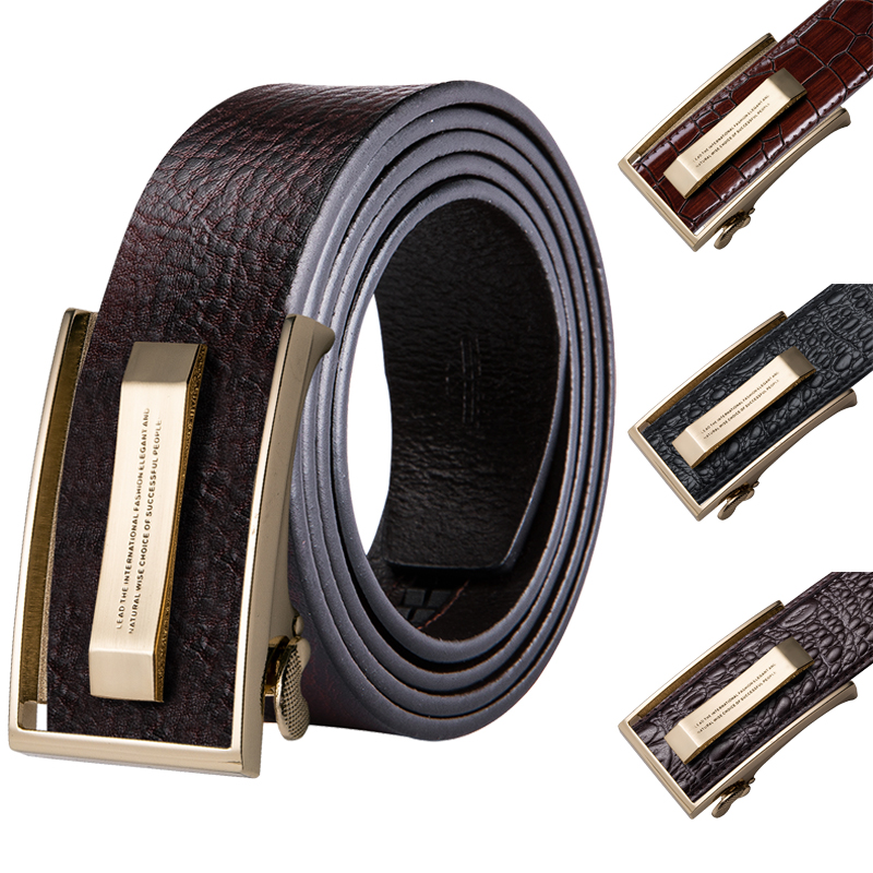 Belts For Men Casual Genuine Leather Belt Fashion Automatic Belt Buckles Brown
