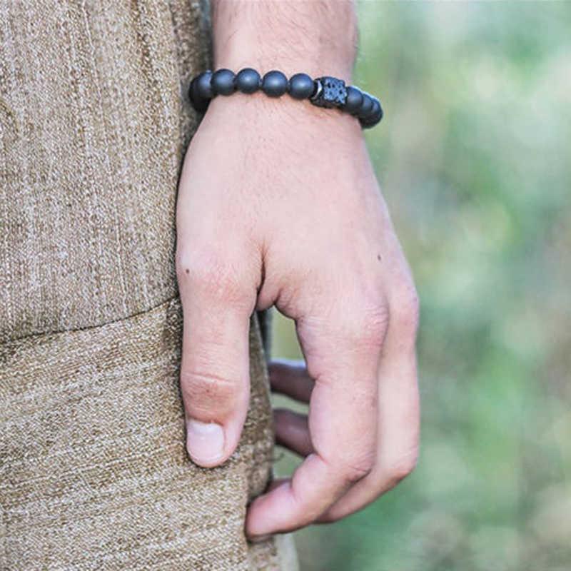 Мужской браслет из натурального матового камня, браслеты из бисера для женщин, винтажные, разные браслеты ручной работы, подарок Homme 2019