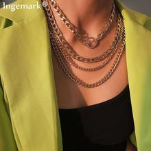 Преувеличенный чокер с массивной цепью, ожерелье, воротник, массивное, панк, многослойное, кристалл, круг, подвеска, цепочка, ожерелье, женское ювелирное изделие
