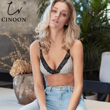 CINOON Underwear Simple Series Thin Cotton bra Wireless Comfortable Lingerie for women sexy Delicate Lace floral
