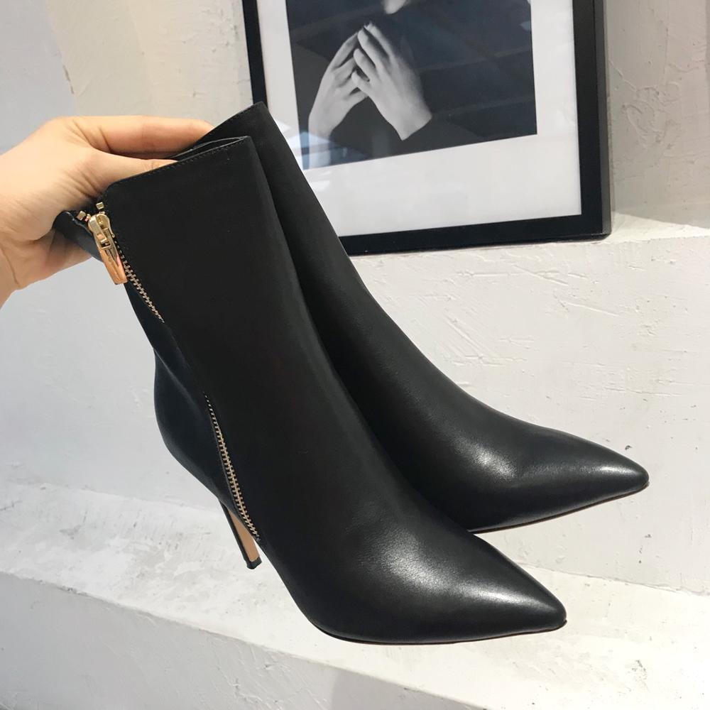 2020 новые женские ботинки Роскошные брендовые высококачественные женские ботильоны из натуральной кожи на молнии женские ботинки на высоко