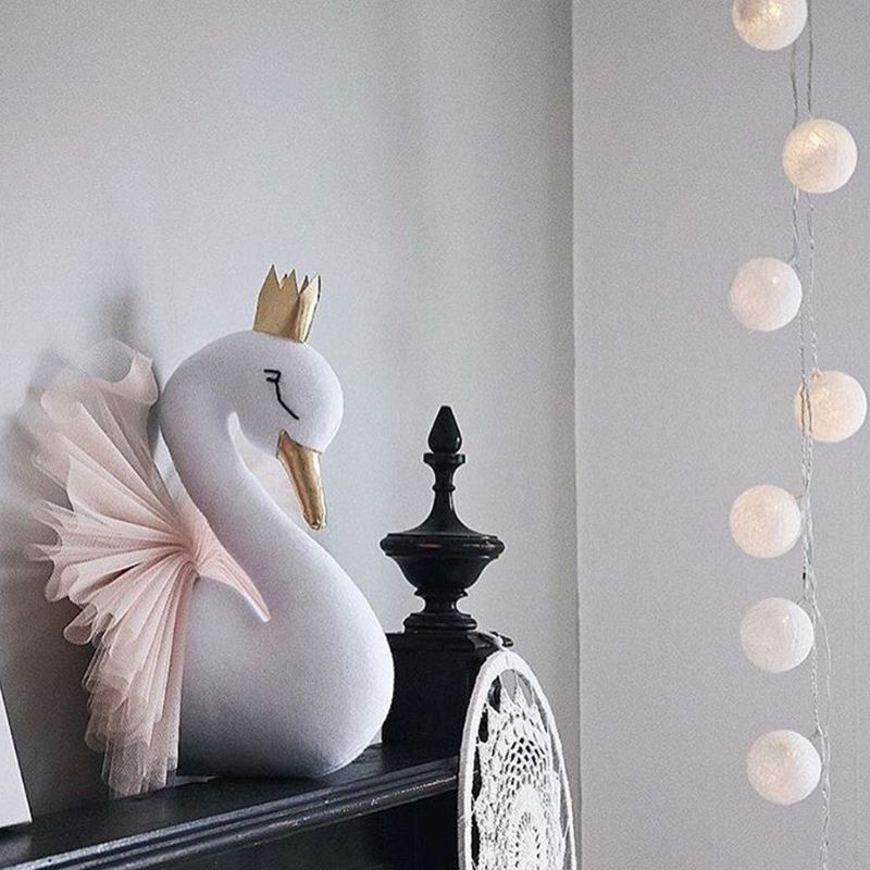 3D Gold Crown Swan Headdress Wall Art Hanging Ornament Nursery Kids Room Decor D7YD