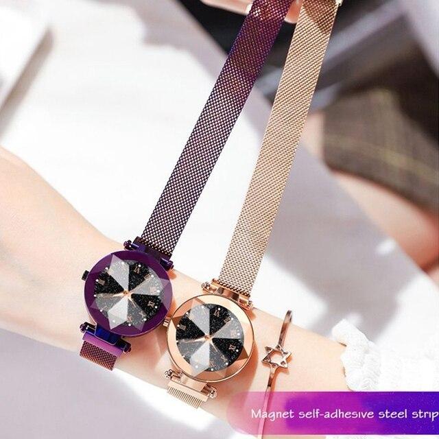 Luxury Starry Sky Stainless Steel Mesh Bracelet Watches For Women Crystal Analog Quartz Wristwatches Ladies Sports Dress Clock 1