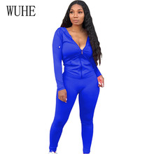 WUHE Autumn Solid Stylish Hooded Zipper Two Pieces Sets Bodysuits New Fashion Long Sleeve Hollow Out Casual Streeetwear Rompers
