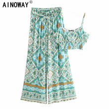 Vintage chic Women two piece outfits  strap Sleeveless tops Bohemian sashes pants 2 pieces rayon cotton  Boho sets