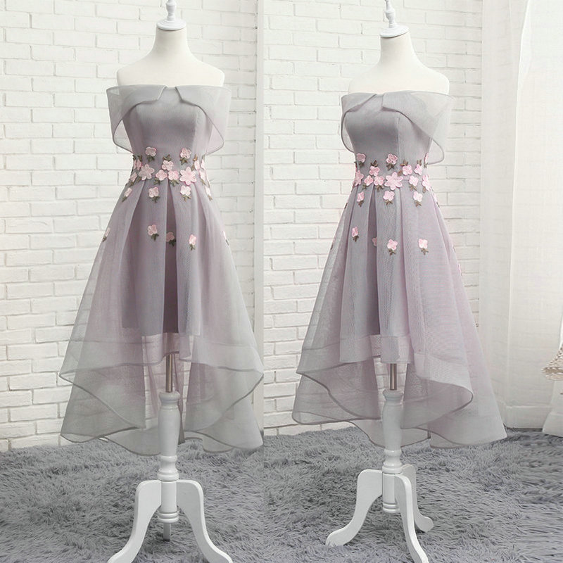 Elegant High Low Tulle Gray Evening Dress Lace Applique Evening Formal Dress Party Gowns S-2XL