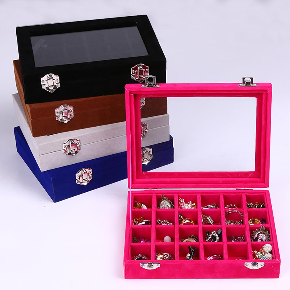 Velvet Portable Jewelry Organizer Display Earring Ring Storage Tray Box Case Durable Wooden Multiple Slot Velvet,Storage Box
