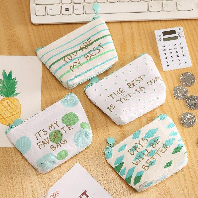 Hot Sales Storage Bag Of Data Cable Storage Bag Cute Zipper Green Simple Wallet Purse Cartoon Key
