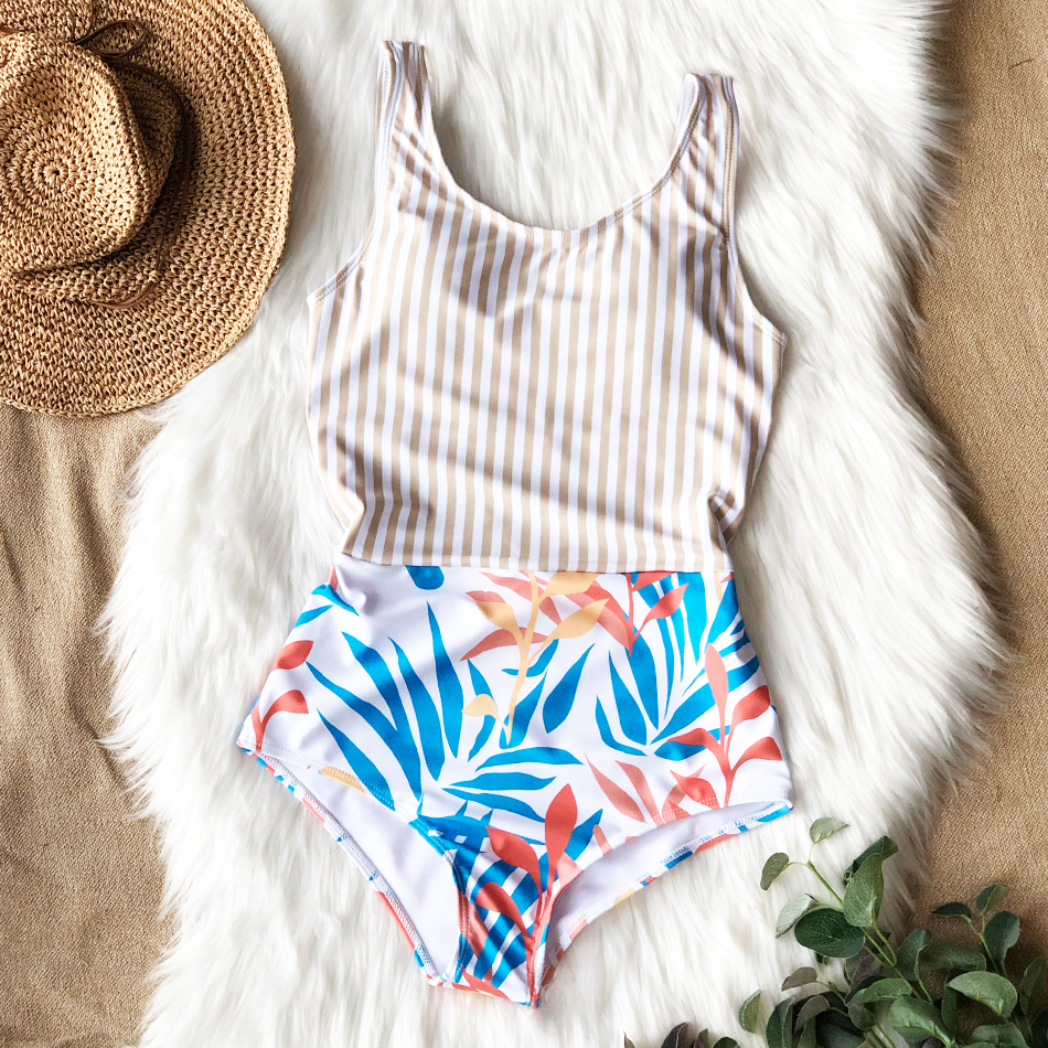 H61898139d4a0480a8a523fde6fd0f0bfi - Striped Women One Piece Swimsuit High Quality Swimwear Printed Push Up Monokini Summer Bathing Suit Tropical Bodysuit Female