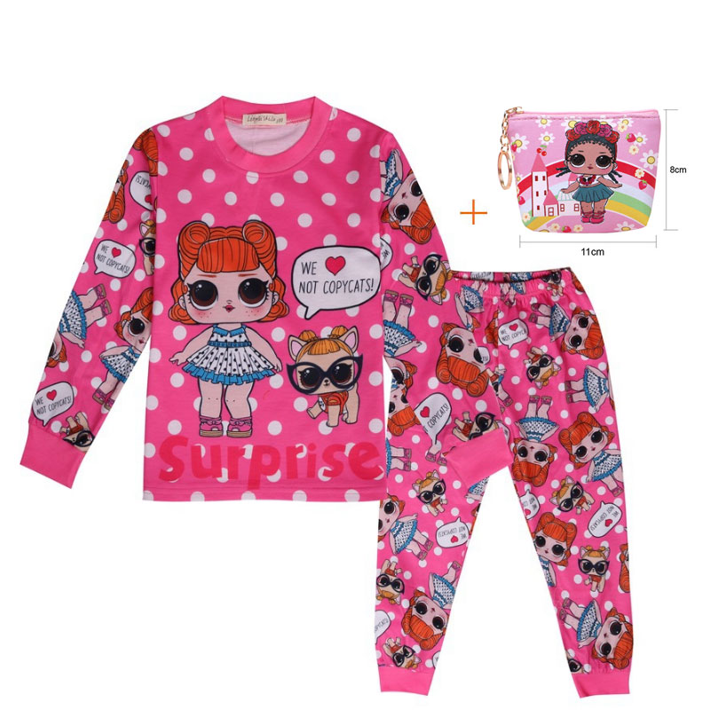 2019 New Doll Cartoon Girl LOl Home Autumn And Winter Pajamas Big Eyes Doll Home Service Suit + Bag