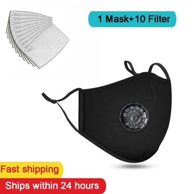1 Mask+10 PCS Filter Fashion Washable Reusable Mask  PM2.5 Mouth Respirator Masks Cotton Unisex Mouth Muffle Black