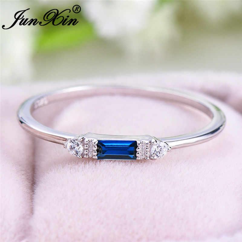 ホワイトゴールド充填リング女性のためのミニマリストの結婚式薄型リング小さな長方形ブルージルコン婚約指輪ジュエリー cz