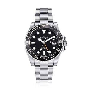 Logo Parnis 40mm wybierania automatyczne mężczyźni mechaniczne zegarki damskie czarne ramka ze stali nierdzewnej pasek GMT nurek mężczyźni oglądać dżem tangan pria
