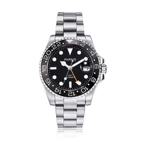 Parnis Logo 40mm Dial Automatic Mechanical Men's Watches Black Bezel Stainless Steel Strap GMT Diver Men Watch jam tangan pria
