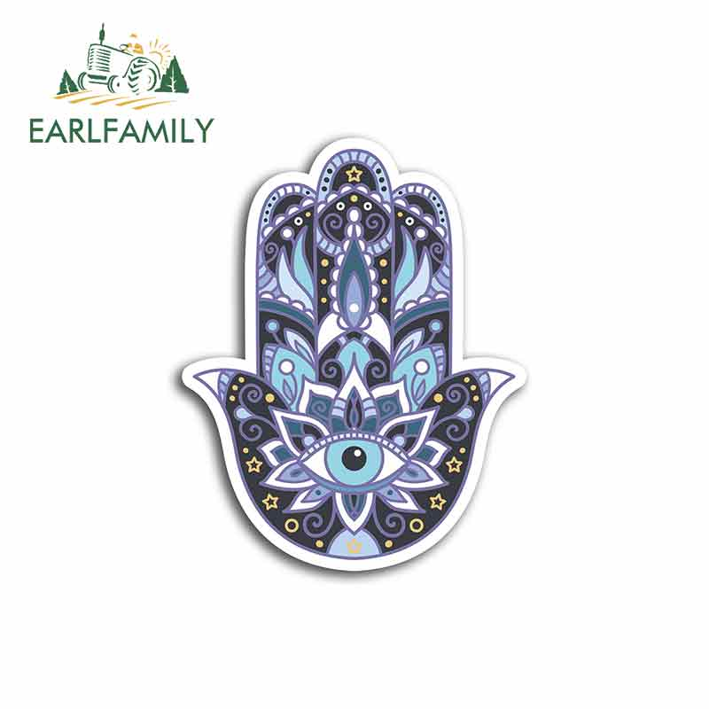 EARLFAMILY 13cm X 13cm For Hamsa Hand Hamsa Hand ReligionFunny Car Stickers Fashion Occlusion Scratch Bumper Window Stickers