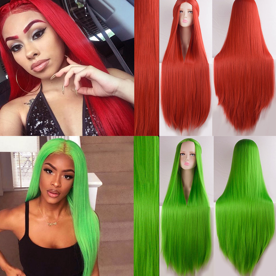 BUQI Synthetic Wig For Black Women Super Long 38Inch Ombre Blond Red Blue 20 Color Natural Straight Hair Wigs Cosplay Wigs