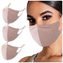 Mascarilla con dibujo de lunares para adultos, máscara facial Lavable con elásticos ajustables, transpirable para exteriores, 3 unidades