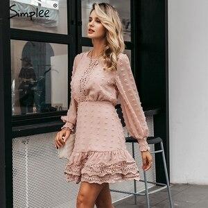 Image 2 - Simplee vestido de encaje de manga larga para otoño, elegante, bordado de lunares, Delgado
