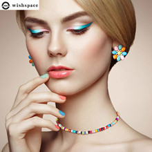 Wishspace  new Bohemian glass bead spring and summer women fashion necklace Beach wind choker jewelry wholesale flower bead teardrop choker necklace