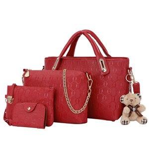 4Pcs/Set Elegant Ladies Bear Pendant Handbag Shoulder Bag Girls Fashionable PU Leather Casual Messenger Tote Bag